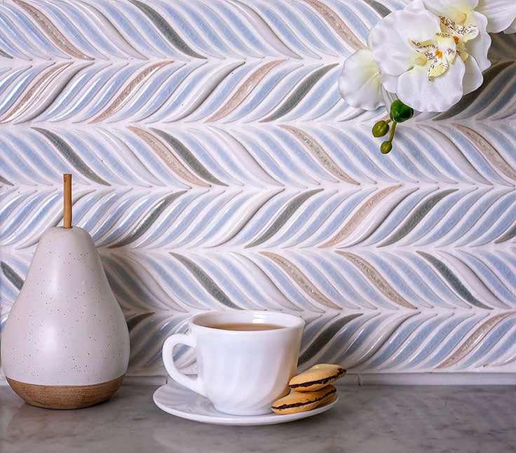 Want to spruce up your powder room or guest shower, or kitchen backsplash with a stunning ceramic tile? This Chateau Blue Sprig Ceramic Tile is ready to make some magic happen!