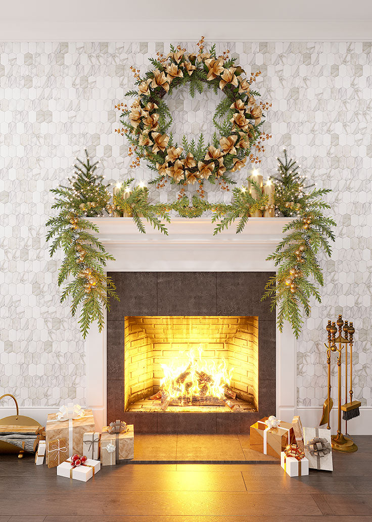 Greenery and Gold Holiday Mantel Decorating with a Ribbon Wreath and Calacatta Marble Tiled Wall