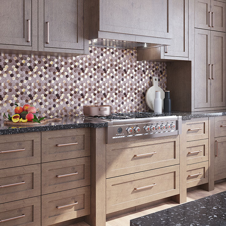 Metal Mosaic Tiles with Aluminum and Vinyl for a DIY Peel and Stick Backsplash