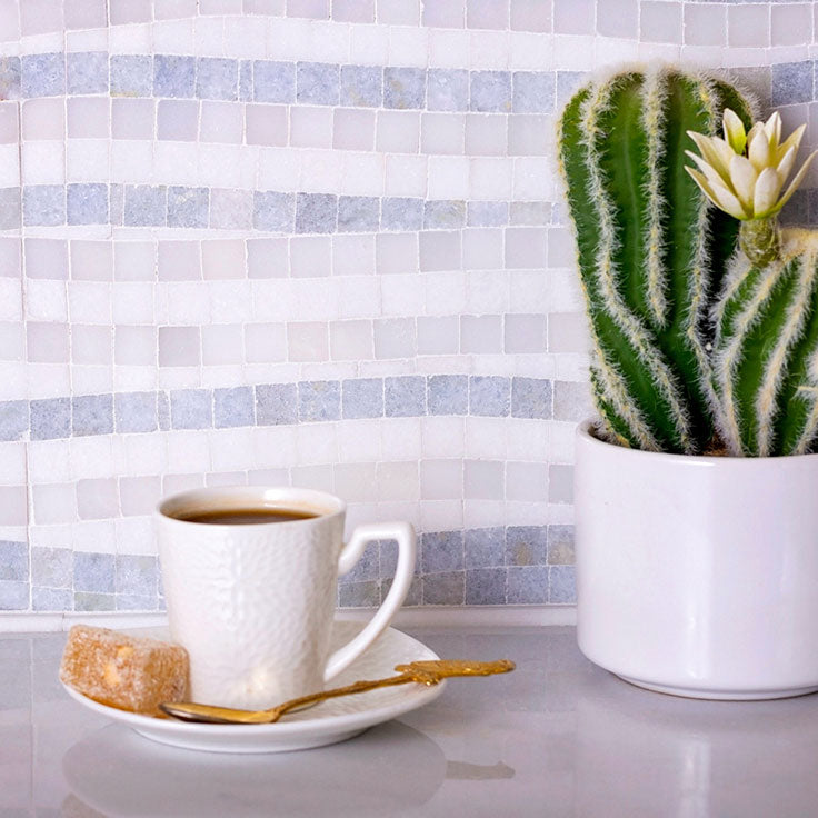 Get Creative Designing with Marble Tiles with this Mosaic in White and Blue