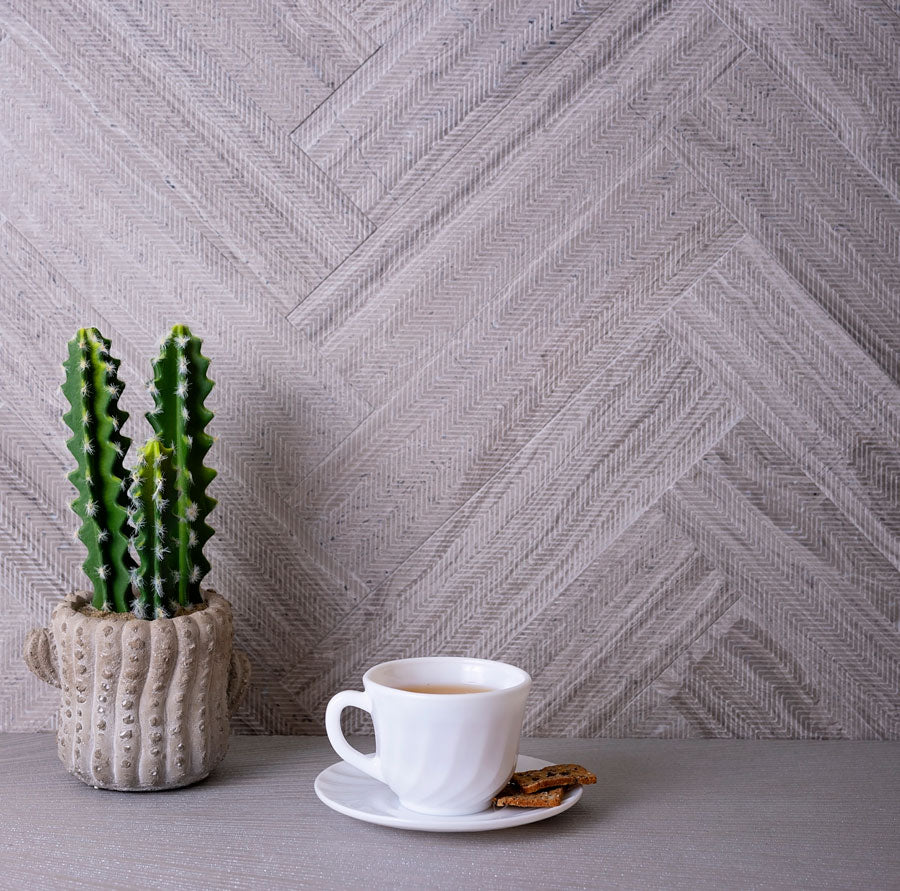 Combining the pattern on our Wooden Beige Wave Etched Subway Marble Tile with a herringbone layout is a great way to create movement and flow on your wall!