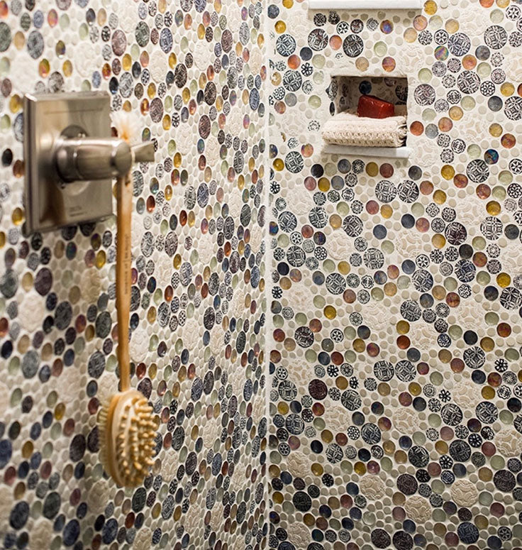 Add a colorful shower wall tile pattern with Mixed Color Bubble Mosaic Tile