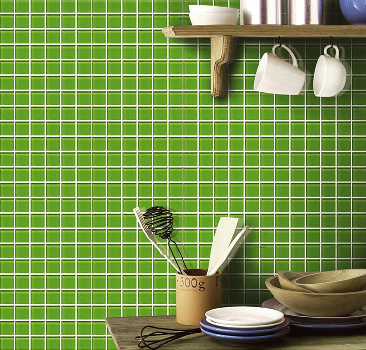 Bold Green Glass Tile for a Cottage Style Kitchen with a Kick