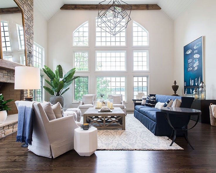 Steph Musur Designs Lake House Great Room in Nautical White and Navy