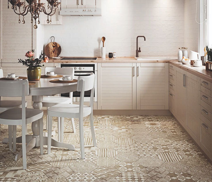 Decorative Kitchen Floor Tiles for an Eclectic Bohemian Home