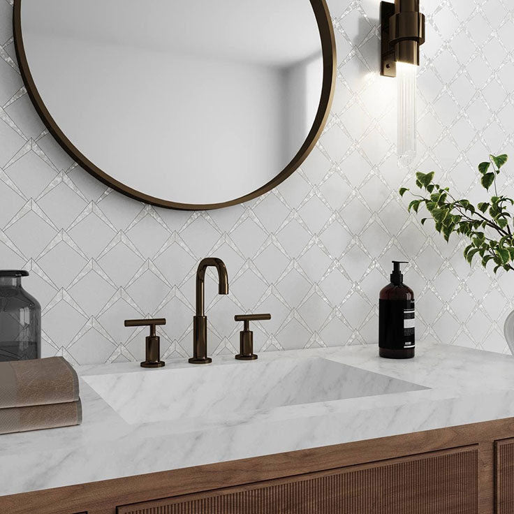 Minimalist Scandinavian Bathroom with a Touch of Pearl Glam