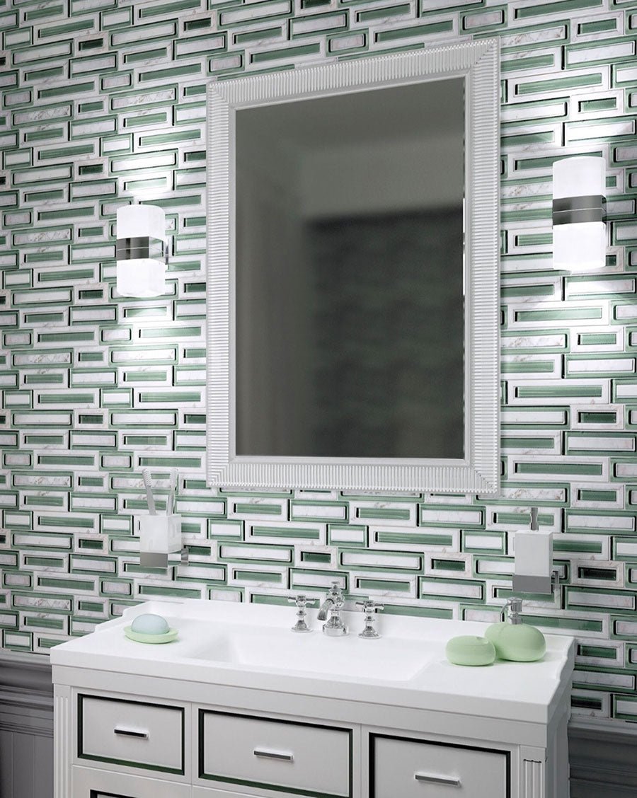 Green and White Brick Wall Combining Glass and Marble