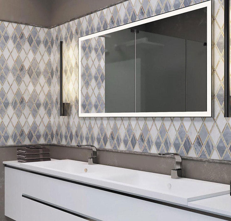 Gray and White Marble Diamond Patterned Bathroom Wall