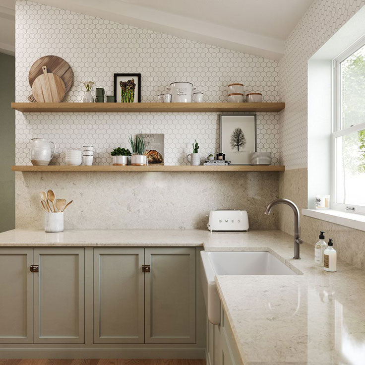 Quartz Slab Countertops for a Neutral Kitchen with Greige Cabinets and Hexagon Backsplash Tile