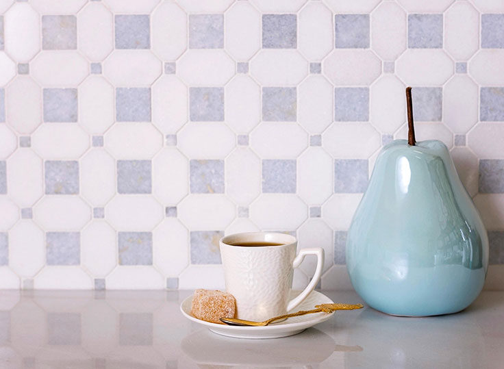 Blue and White Marble Mosaic Tile to Create a Classic Home