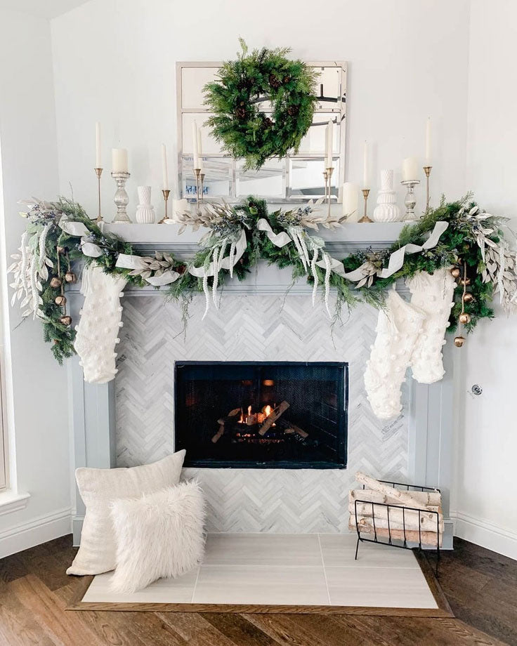 Ribbon and Greenery Christmas Garland for a Mantel with White Knitted Stockings