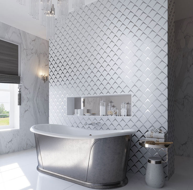 Luxurious White Bathroom with Frosted Glass and Chrome Tiled Wall