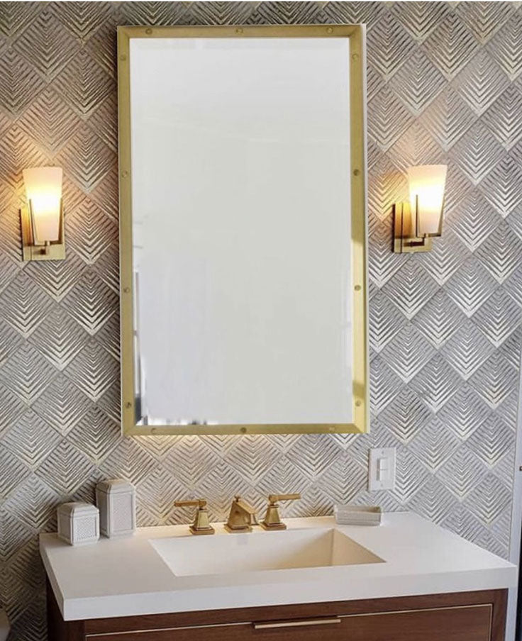 Vintage Luxe Bathroom Vanity Wall Decor with Gold Decorative Tiles