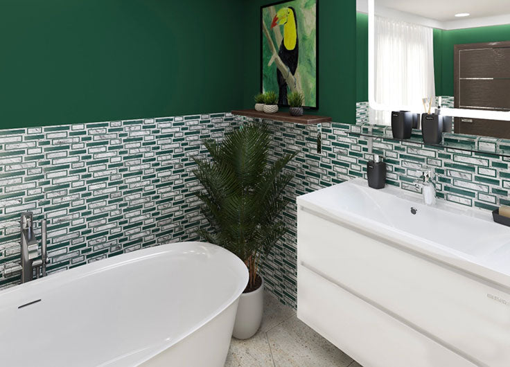 The pop of color from our White & Green Bricks Carrara & Glass Mosaic Tile is a great choice for a bathtub surround
