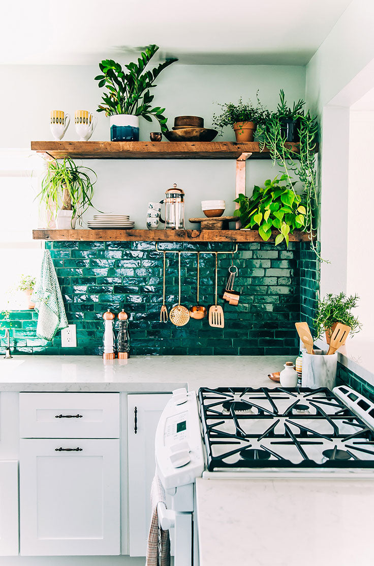 Jungalow Kitchen Style with Live Edge Open Shelves and Emerald Green Zellige Tiles