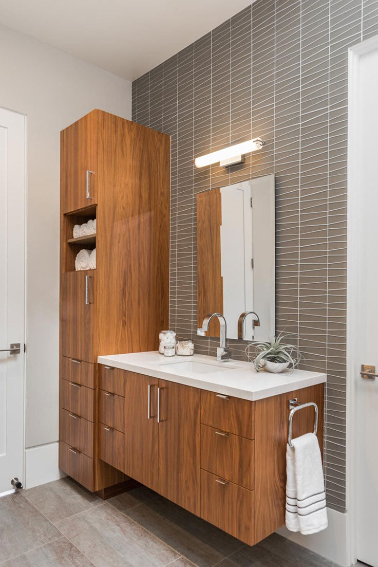Neutral Wood and Gray Tile Mid-Century Modern Bathroom Vanity Wall