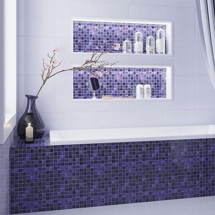 Create this statement tiles bathtub surround with Purple Foil Glossy and Frosted Mosaic tile
