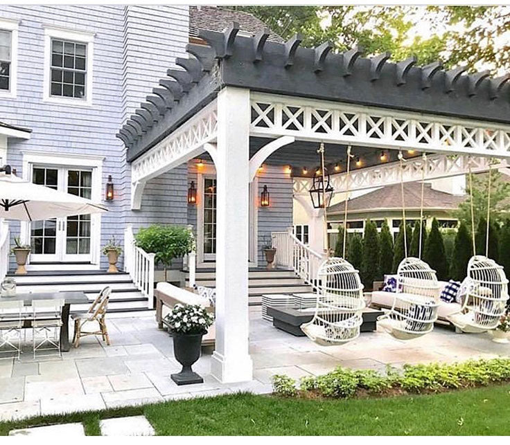 Chicago Area Steph Musur Designs - Backyard Pergola with Hanging Charis