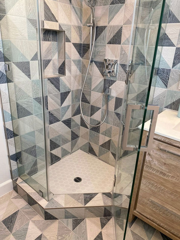 Geometric Shower Tile with Porcelain Wood Look in Blue Triangles