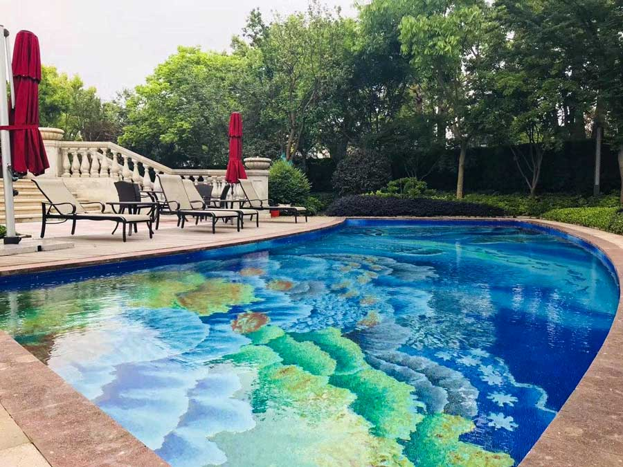 Sea Life Mosaic Turns a Swimming Pool into a Tropical Paradise