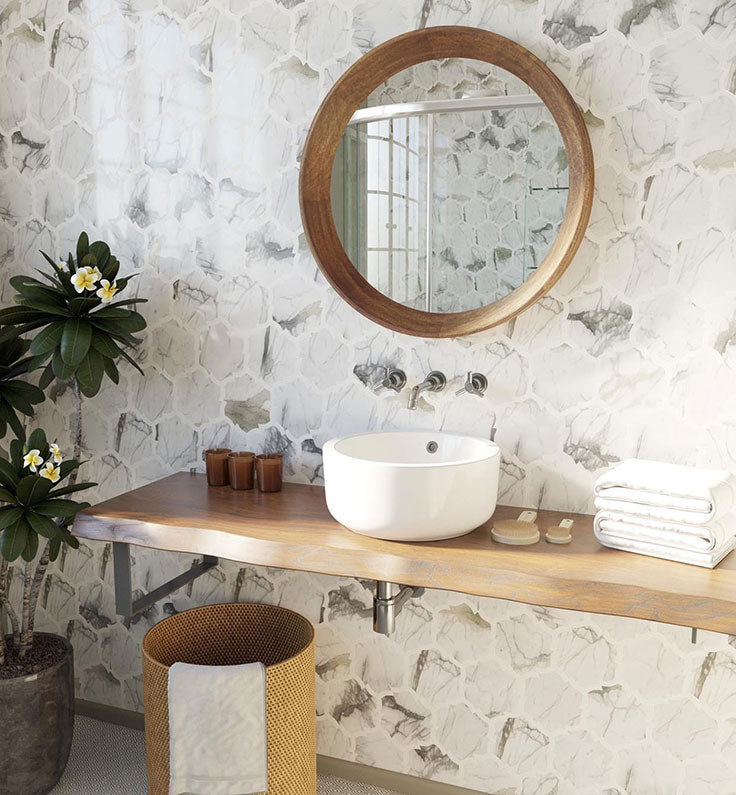 ow gorgeous is this live edge wood countertop for a California Casual bathroom design?