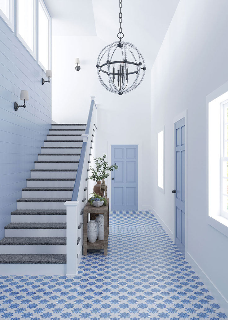 Blue and White Marble Mosaic Floor Tiles for a Mediterranean Entryway