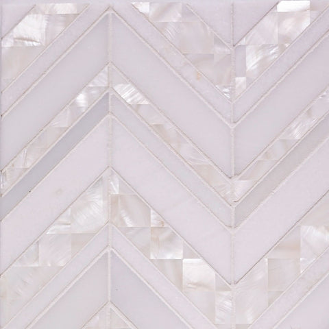 Marble and Pearl Chevron tile for a Glam Living Room Fireplace