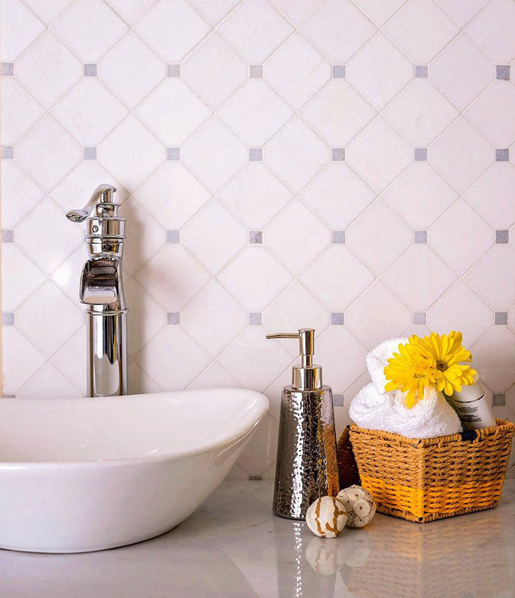 Blue and White Marble Bathroom with Diamond Pattern Details