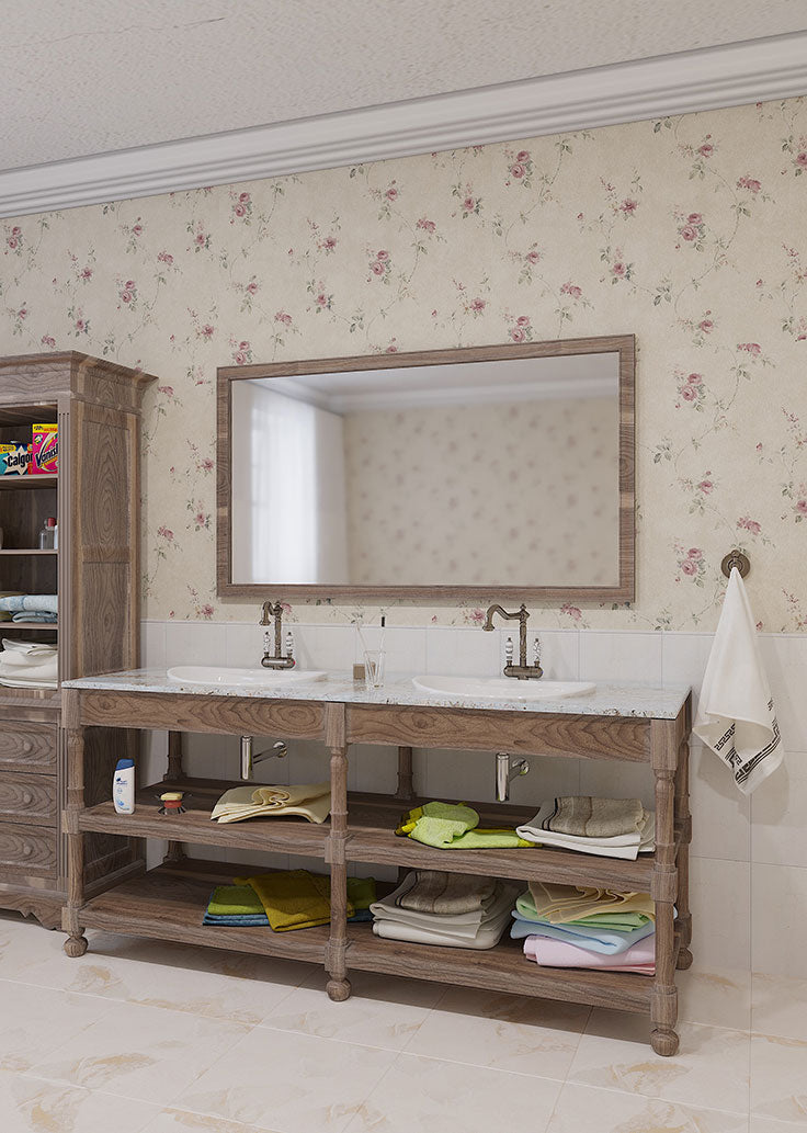 Before Bathroom Remodel with Dated Wall Paper and Vanity