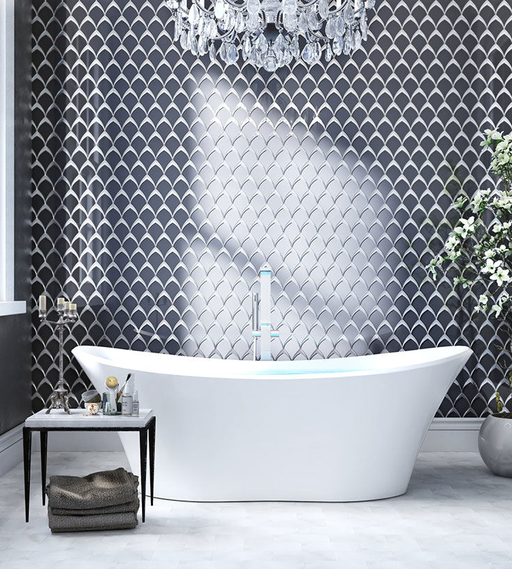Geometric Design go Glam for an Art Deo Bathroom for 2021 Bathroom Design Trends