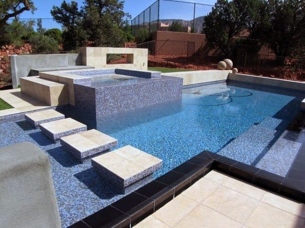 Blue and Black Glass Pool Tile Mosaic