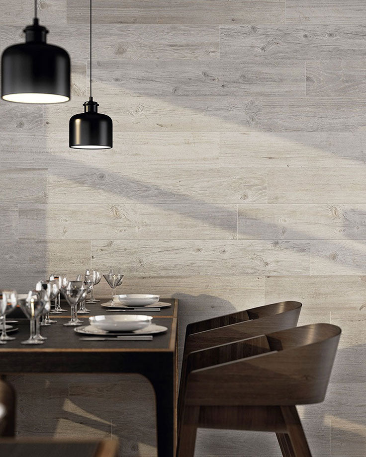 Rustic Wood Look Shiplap Wall Covering that's actually Budget-Friendly Tiles made of Porcelain