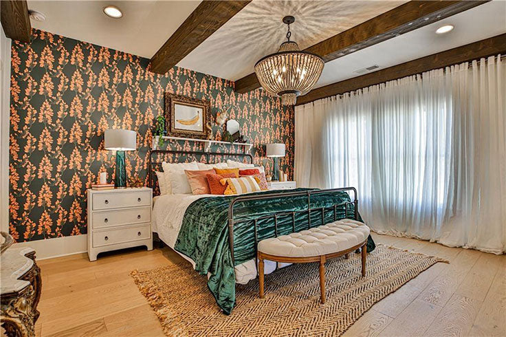 Colorful Main Bedroom Transformation with Patterned Wallpaper and Velvet Comforter