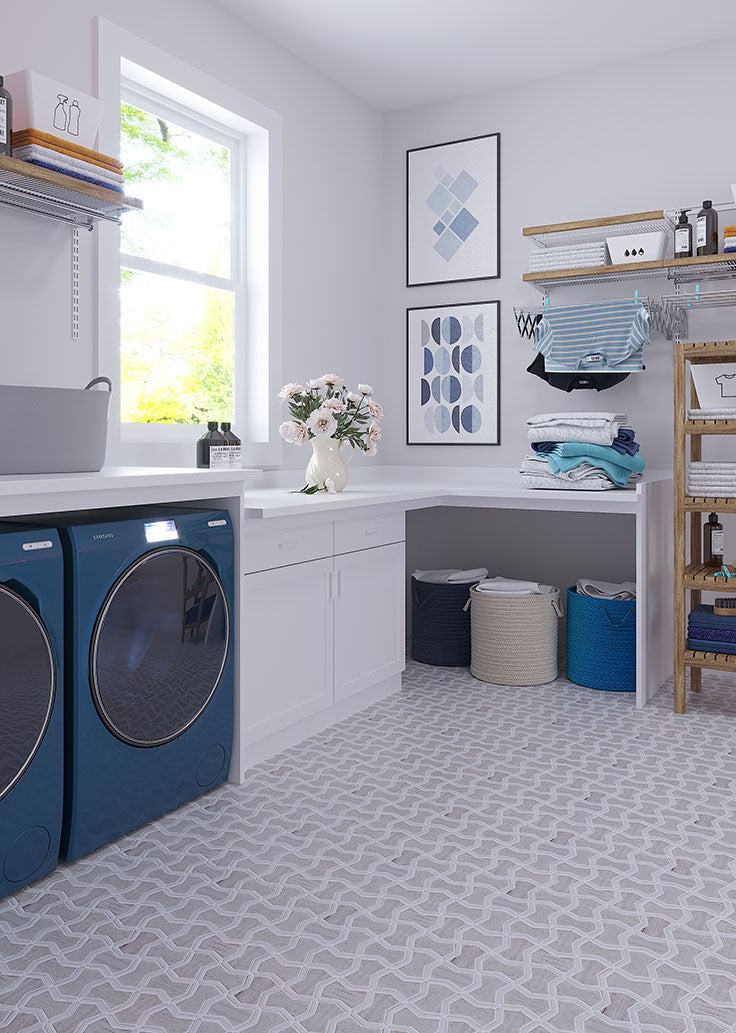 A charming and practical farmhouse mudroom design with our Sand Valley & Thassos mosaic floor tiles