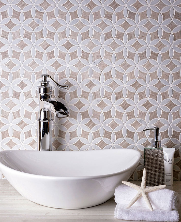 Illusion of Dimension with a Wood Look Marble Tile for a Farmhouse Bathroom