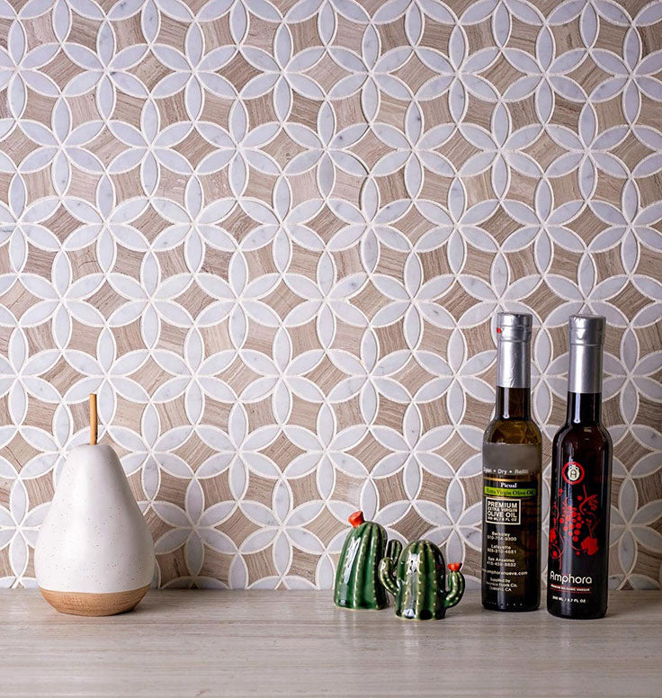 Farmhouse Kitchen Style with Rustic Wood Look Marble Tile
