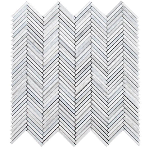 Stacked Stone Chevron Tile in White and Blue Marble