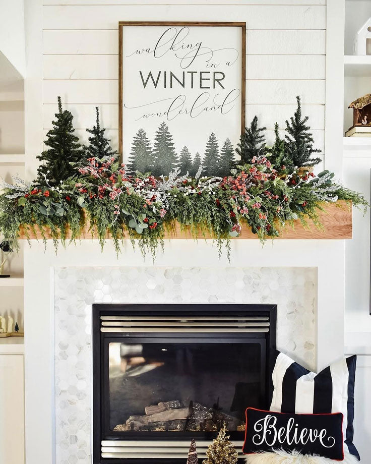 Cozy Rustic Fireplace with Mountain Christmas Decorating Ideas and Marble Hexagon Tile