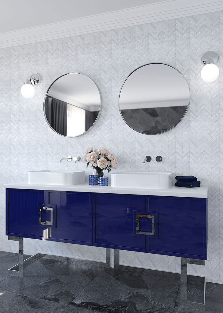 After Bathroom Remodel with White Marble and Shell Chevron Patterned Wall Tiles