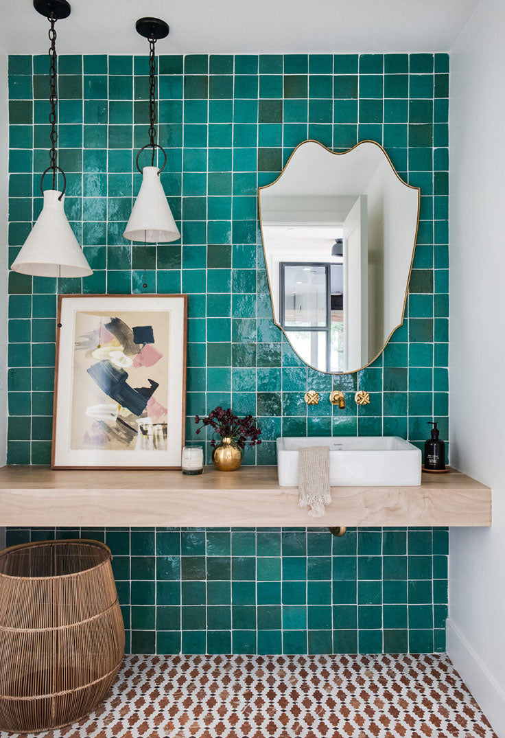 Glazed Ceramic Tile adds a Turquoise Pop to this Modern Kid's Bathroom Design