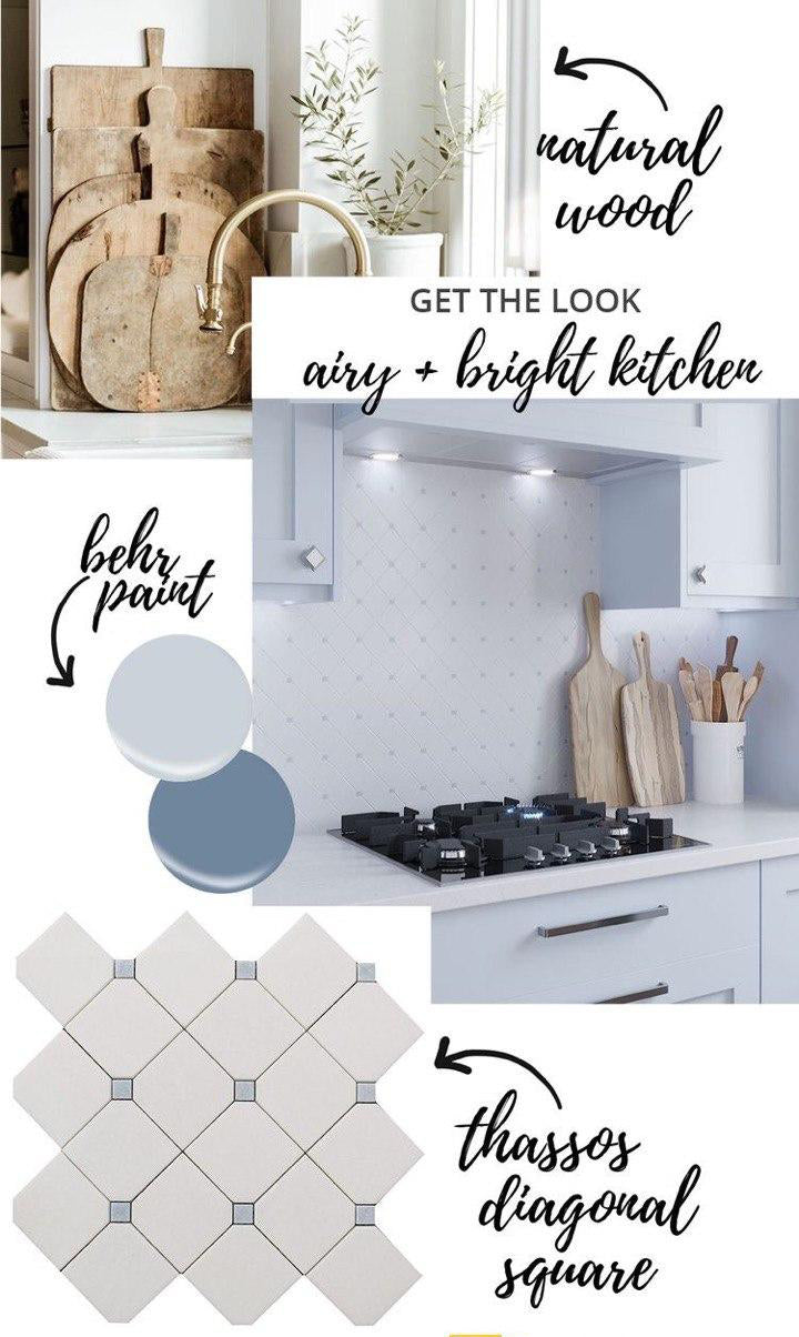 White and Bright Kitchen Moodboard with our Thassos Diagonal Square and Blue Celeste Marble Tile