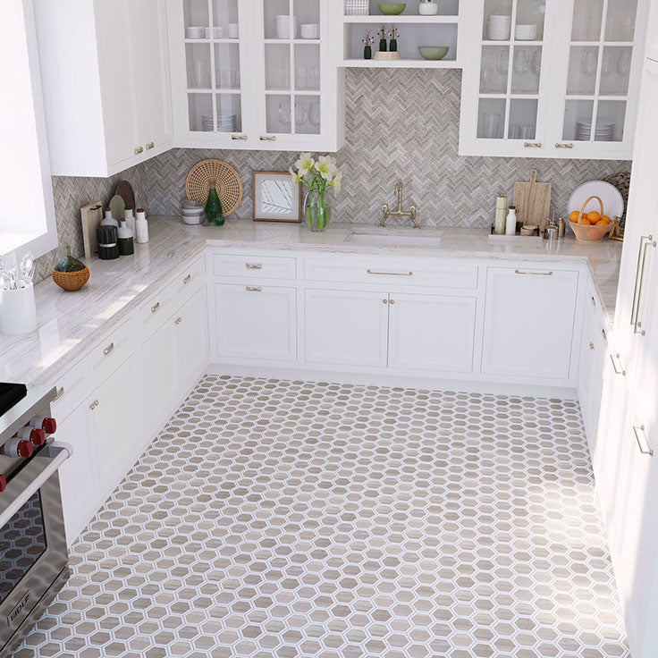 Neutral Kitchen with White Cabinets and Warm Marble Hexagon Patterned Floor