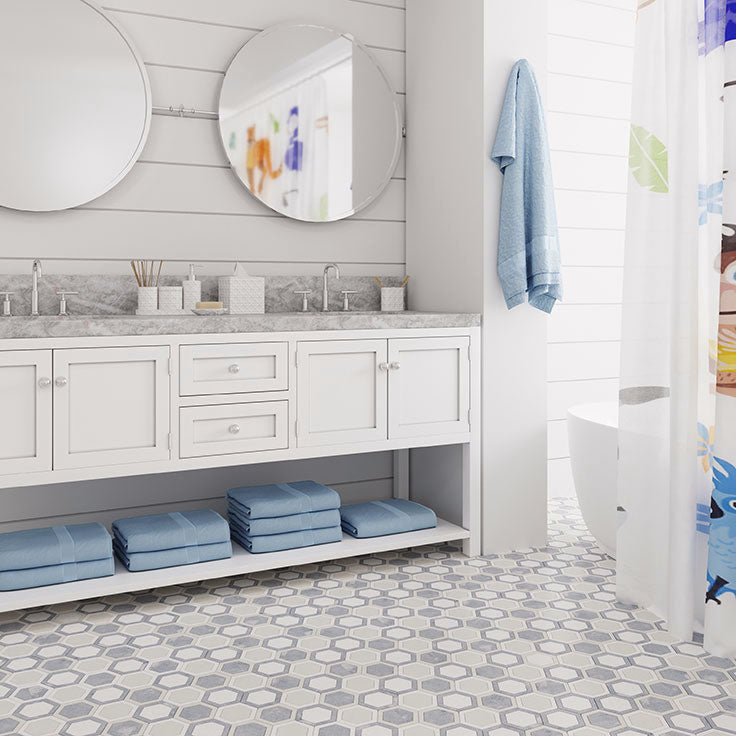 Blue and White Marble Hexagon Bathroom Floor with Shiplap Walls