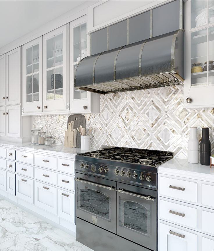 Calacatta Gold Marble Diamond Pattern Tiles add Geometric Flair to a Traditional Kitchen