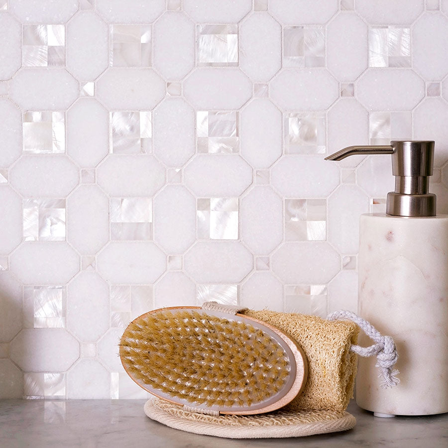 Keep the natural beauty of Thassos marble and Mother of Pearl Tiles with these Marble Shower Tile Cleaningtips!