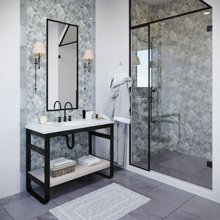 Wash away the day in calming clouds of grey with this magnificent, hand-poured Ocean Cloud Grey Mosaic Glass Tile backsplash!