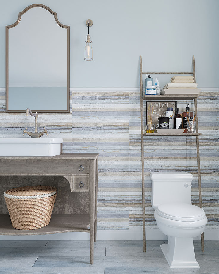 Modern Rustic Farmhouse Bathroom with Faux Shiplap Walls with Porcelain Tile