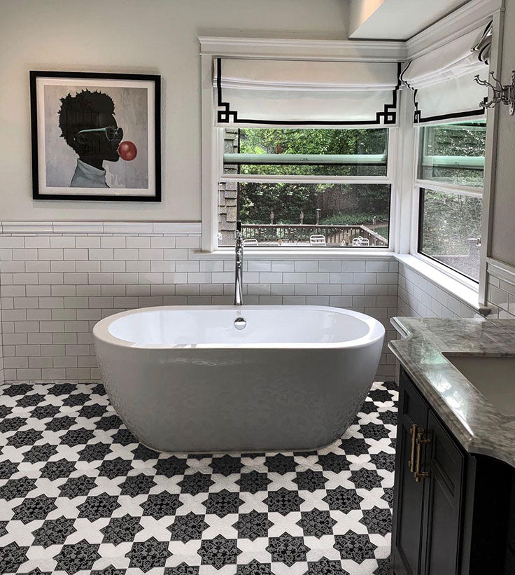 Black and White Marble Star and Cross Tile Floor for a Teenager Bathroom