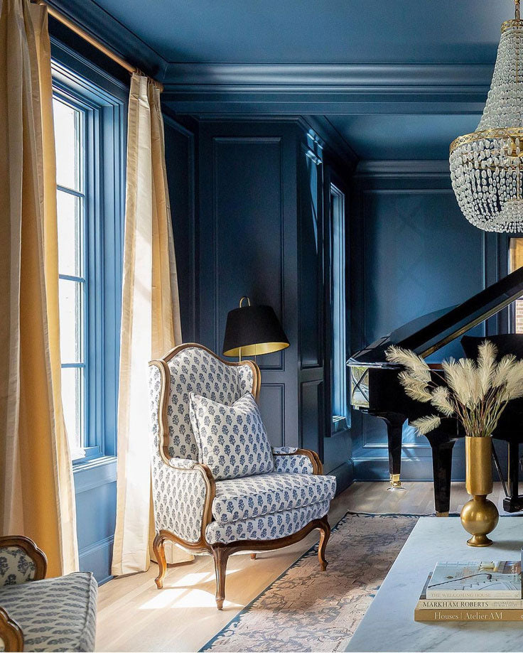 Utah architectural designers the Fox Group channeled Old World interiors with this luxuriously appointed blue and gold drawing room