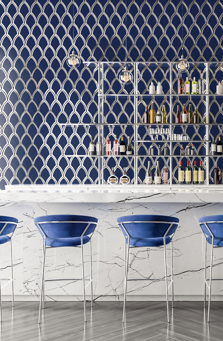 Bold Blue Bar with Geometric Art Deco Glass Tiles with Chrome Finishes